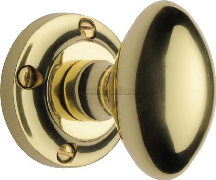 M Marcus Heritage Brass V960-PB Suffolk Mortice Knob On Rose Polished Brass